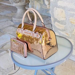 NWT Michael Kors metallic duffle bag&wallet